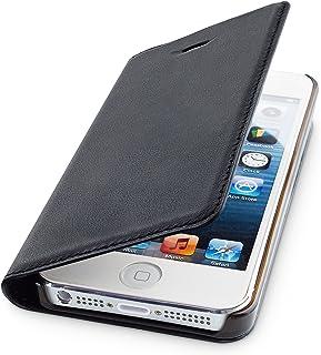 WIIUKA Echt Ledertasche   TRAVEL   für Apple iPhone 5 / 5S / SE mit Kartenfach, extra Dünn, Tasche Schwarz, Leder Hülle kompatibel mit iPhone 5/5S/SE