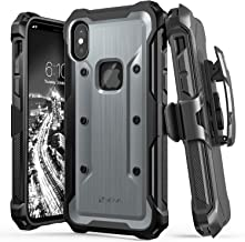 Vena iPhone Xs/X Holster Case, Upgraded Version 2018 (vArmor) Rugged Military Grade Heavy Duty Case with Belt Clip Swivel Holster and Kickstand, Compatible with iPhone Xs and iPhone X (Space Gray)