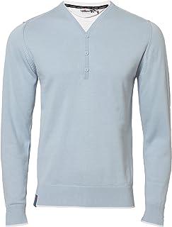 Dissident Men's 100% Cotton Y Neck 3 Button T Shirt Insert Jumper