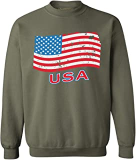 Awkward Styles Unisex Distressed USA Flag Sweatshirt Crewneck USA Independence Day 4th of July