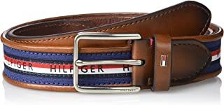 Tommy Hilfiger Men's Ribbon Inlay Belt - Fabric Belt with...