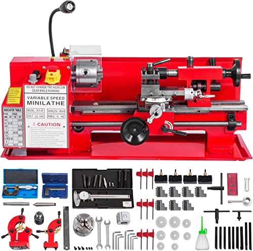high quality Mophorn 7x12 Inch Luxury Version Metal wholesale Lathe 550W Precision Bench Top Mini Metal Milling Lathe Variable Speed 50-2500 RPM Nylon discount Gear with A Movable Lamp (7x12 inch) online sale
