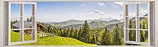 "Fabulous Décor - Alpine Panorama 3D Window View Wall Art Premium Vinyl Decal Sticker 17""H X 57""W"