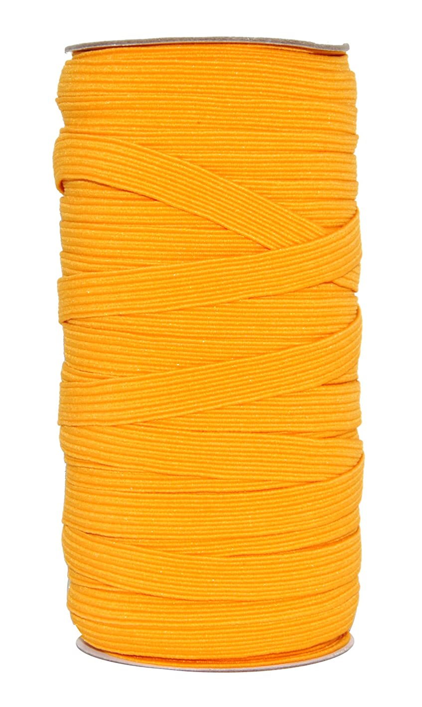 Mandala Crafts Flat Elastic Band, Braided Stretch Strap Cord Roll for Sewing and Crafting (3/8 Inch 10mm 50 Yards, Gold) xgaacsbprdl413