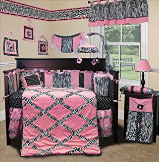 SISI Baby Bedding - Pink Minky Zebra 13 PCS Crib Bedding