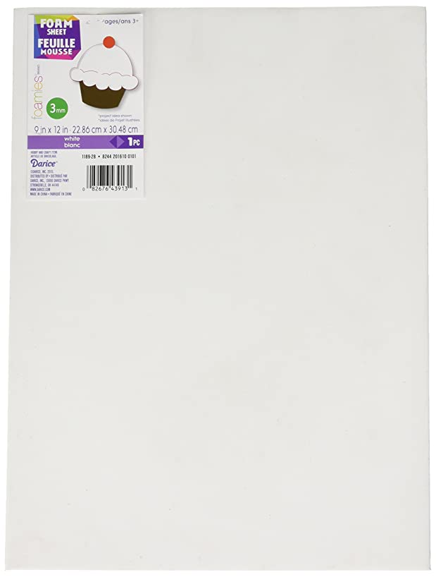Darice Sheet-White-3mm Thick-9 x 12 inches Foamies Foam Sheet, 9