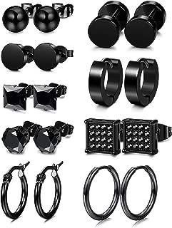 4-9Pairs Stainless Steel CZ Stud Earrings for Women Mens Hoop Huggie Earrings Ear Piercing Earrings Set