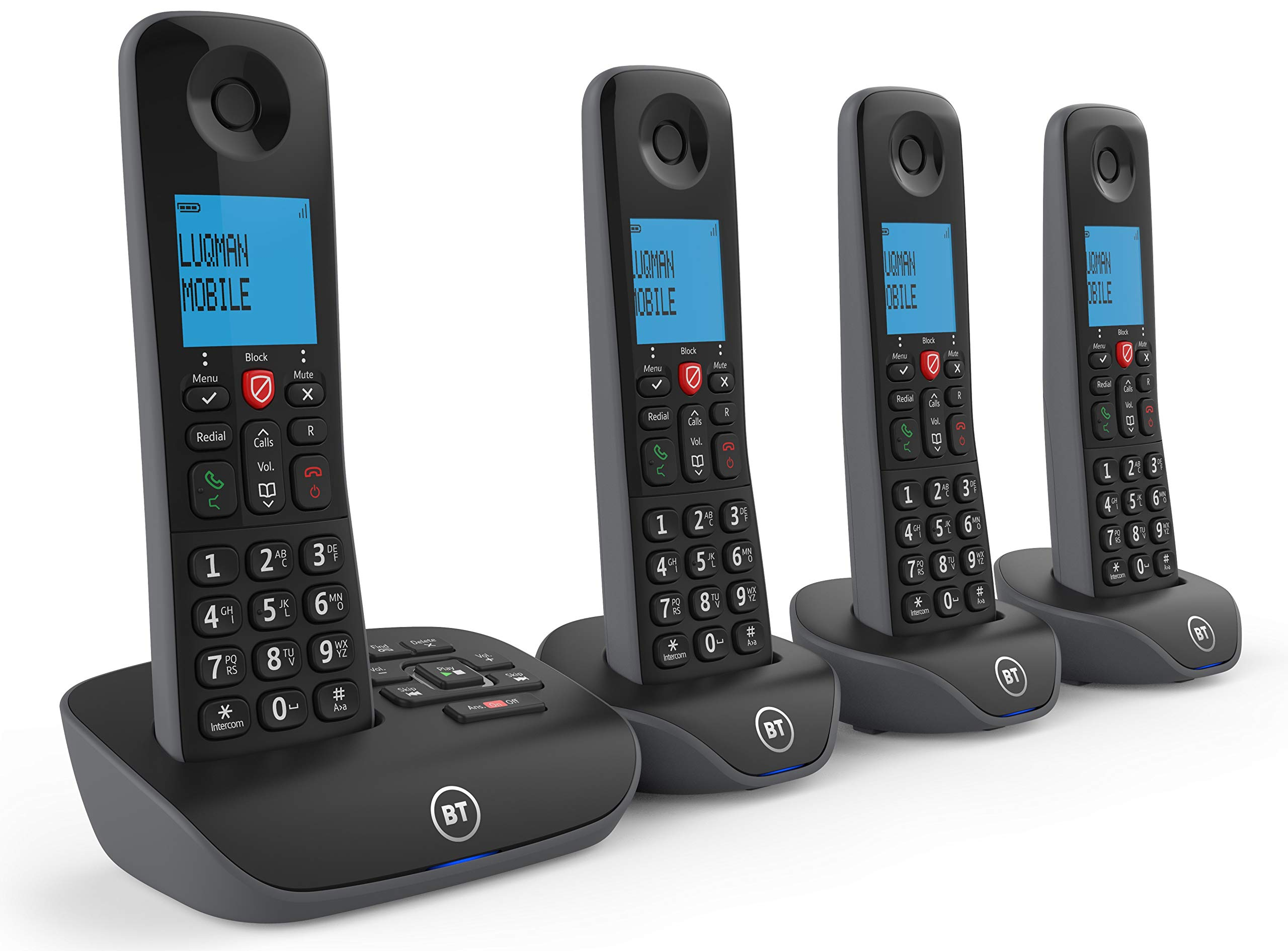 BT Esenciales del hogar del teléfono inalámbrico con Llamadas molestas Bloqueo y un contestador automático, teléfono de cuádruple Paquete: Amazon.es: Electrónica