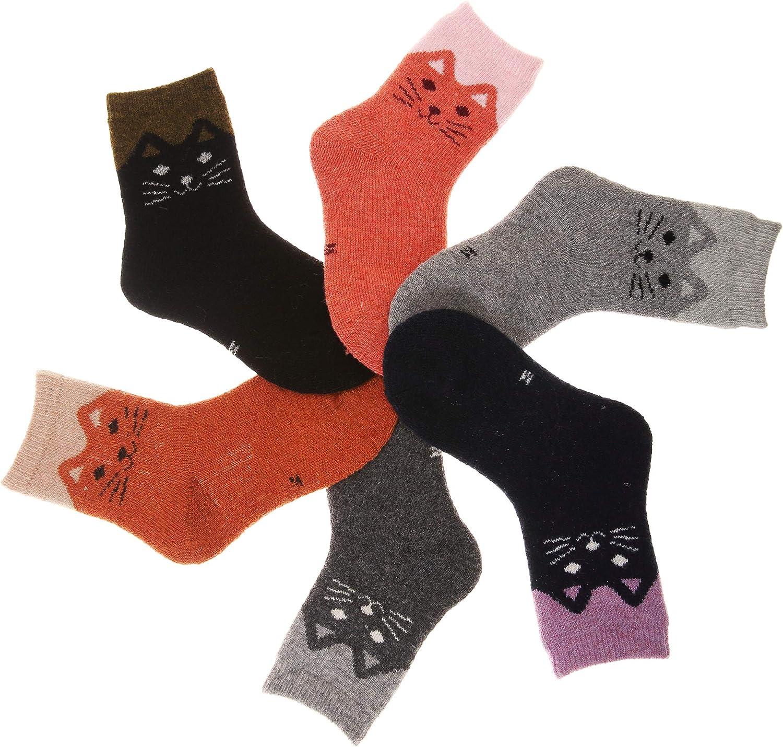 Kids Girls Boy Super Thick Winter Soft Wool Warm Children Socks 6 Pairs