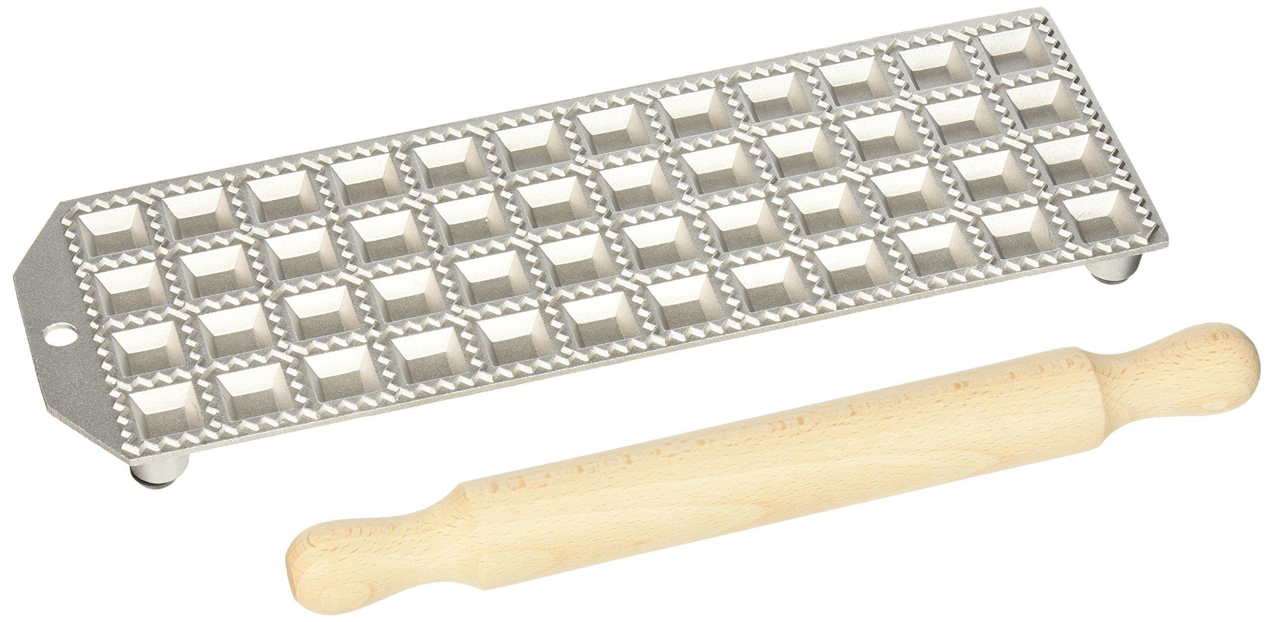 Eppicotispai 48 Holes Aluminum Square Ravioli Maker with Rolling Pin