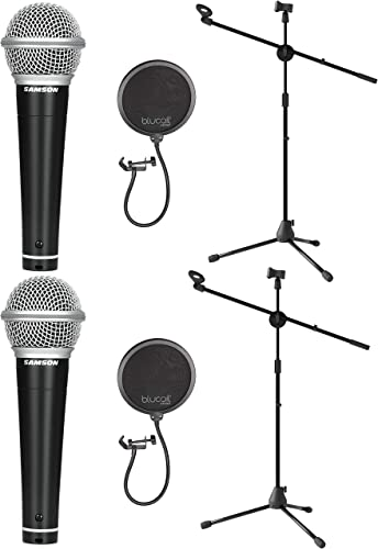 wholesale Samson R21S Dynamic Microphone for Vocal Recording, Live Performance, and Karaoke Bundle with Blucoil sale Pop Filter Windscreen, and Adjustable Microphone outlet online sale Tripod Stand sale