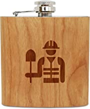 WOODEN ACCESSORIES COMPANY Cherry Wood Flask With Stainless Steel Body - Laser Engraved Flask With Hard Hat Worker Design - 6 Oz Wood Hip Flask Handmade In USA
