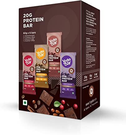 Yogabar 20 gram Protein Bar Variety Box - 6 x 60 g (Single Pack)