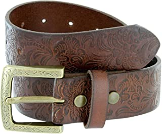 MONIQUE Men 1-3//8 Wide Stitch Edge Oil Tanned Leather Floral Metal Buckle Belt