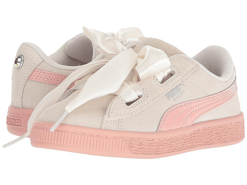 Puma Kids Suede Heart Jewel (Little Kid) (Whisper White/Beige Peach) Girls Shoes