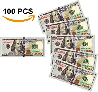 Nice Gift Movie Prop Play Money 10000 Full Print 2 Sided,100 pcs 100 Dollar Bills Stack,Copy Money for Movies,Videos,Fun,Teaching and Birthday Party