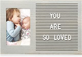 Pearhead Letterboard Photo Frame, Includes 294 Letters, Perfect Message Board for a Rustic Nursery or for Photo Sharing, Baby Shower Gift, Baby Announcement, Distressed Gray