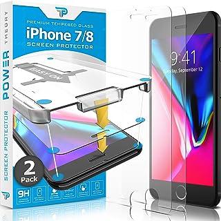 Power Theory Protector Pantalla Cristal Templado iPhone 7/8 - (2 Unidades) Vidrio Ultrafino (0.33mm), Ultraresistente (9H Dureza) con Kit de Instalación sin Burbujas