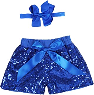 ANATA Baby Girls Shorts Kids Sparkle Toddler Sequin Shorts Glitter on Both Sides Birthday Outfits with Headband