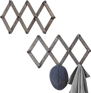 MyGift Set of 2 Wall-Mounted Rustic Gray Wood Expandable Accordian 10-Peg Coat Rack