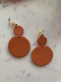 Orange Clay Earrings/Modern Abstract Dangles Design/Lightweight Dangle and Drop Hypo-allergenic/Statement Earrings/Gift for her