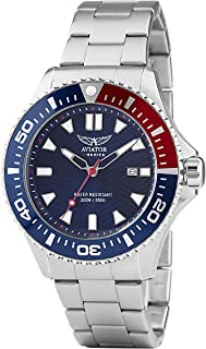 AVIATOR Special Ops Diver Watch – Divers WR 200m Metalic Bracelet Wristwatch – Army Military Paratroopers Analog Quartz Model AVW78341G350