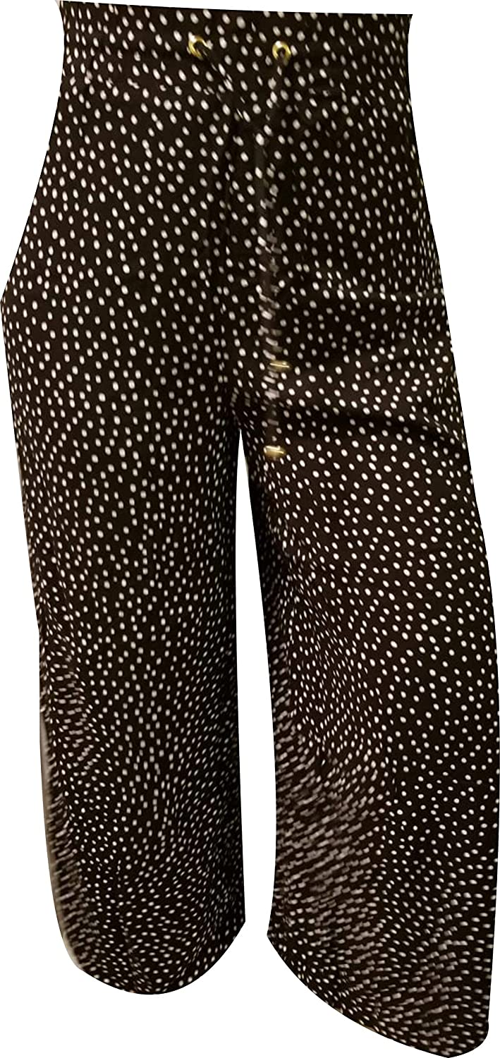 Ellen Tracy WideLeg Printed Cropped Pants, Black White Combo, Medium
