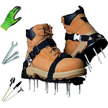 Earthgears Lawn Aerator Shoe [2020 Hard-Flex Grade] Pre-Assembled, Hard Flexible Sole, E-Z Fit Single Click-Buckle Strap, Long 2.4' Spikes w/Garden Gloves, 3 Shovels, Extra Spikes, Aerating Guide
