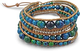 Multi-layer Hand Crafted Mix Stone or Cultured Fresh Water Pearl Beaded on Genuine Leather Boho Style Leather Wrap Bracele...