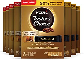 Nescafe Taster's Choice Instant Coffee Beverage, Hazelnut, 16 count (Pack of 8)