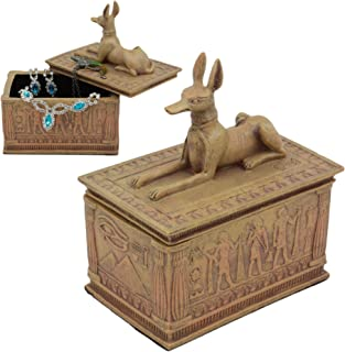 Ebros Small Eye of Horus and Anubis Dog Egyptian Jewelry Box in Sandstone Finish 4.5