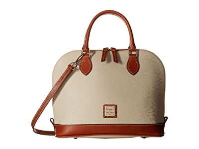 Dooney & Bourke Pebble Zip Zip Satchel (Bone w/ Tan Trim) Satchel Handbags