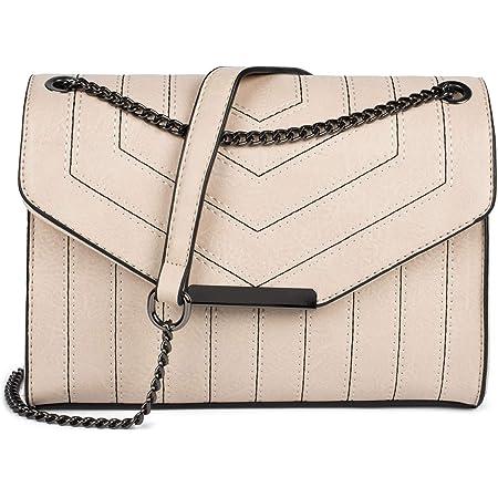 styleBREAKER Damen Umhängetasche mit Ziernähten und Kette, Schultertasche, Handtasche, Tasche 02012308, Farbe:Beige
