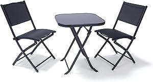 Ampel 24 - Conjunto para balcón Paris/Set de Muebles de jardín de Metal/con Mesa y Dos sillas Plegables