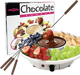 Chocolate Fondue Maker - 110V Electric Chocolate Melting Pot Set with 4 Steel Forks, Stainless Steel Bowl, Serving Tray - Upgraded Heating Material for Quick Melting