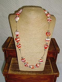 Collar de murano en forma de corazón color anaranjado y Plata. Medidas: 100 cm. abierto, 50 cm. cerrado
