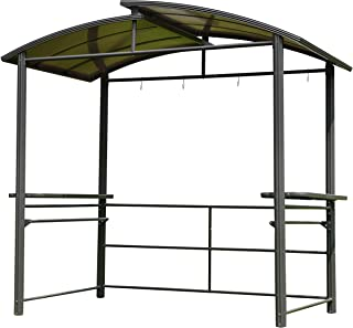 ALEKO GZBHTG01 Steel Hard Top BBQ Gazebo Grill Shelter Canopy with Serving Tables 8 x 5 x 8 Feet Brown