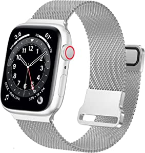 Ycysh Metal iwatch Bands Compatible with Apple Watch Bands 42mm 44mm for Women Men, Stainless Steel Mesh Loop Adjustable Magnetic Strap Replacement for iWatch Series 6 5 4 3 2 1 SE (42/44mm-Silver)