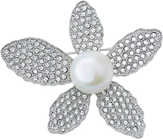 MOONSTONE Fashion Brooches Pendant for Women Sparkling Cubic Zirconia Faux Pearl Flower Embellished, Mix Silver Crystal Wh...