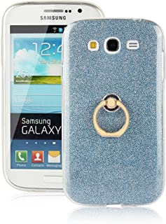 pinlu Funda Para Samsung Galaxy Grand Neo Plus/Grand Neo (i9060) Anti-Arañazos Función Flash Brillante Suave TPU Silicona Case Ultra Delgada Hebilla del Anillo Soporte Diseño Azul