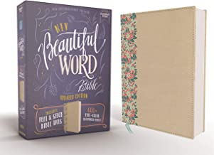 NIV, Beautiful Word Bible, Updated Edition, Peel/Stick Bible Tabs, Leathersoft over Board, Gold, Red Letter, Comfort Print: 600+ Full-Color Illustrated Verses