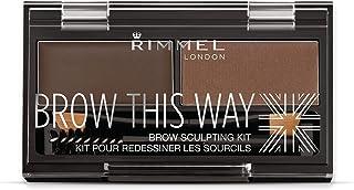 Rimmel Brow This Way Sculpting Kit, Dark Brown, Powder 0.04 oz., Wax 0.03 oz., Brow Sculpting & Styling Kit with Eyebrow W...
