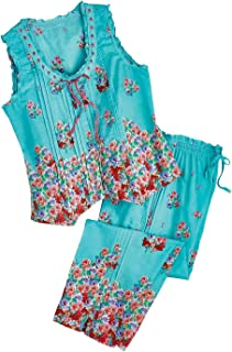 Women's Aqua Roses Pajamas - Blue PJ Sleeveless Shirt Capri Pants Set