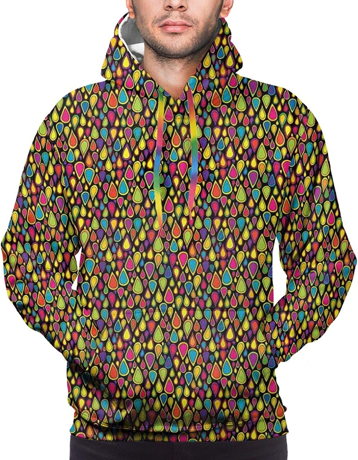 Men's Hoodies Sweatshirts,Colorful Tangled Lines Abstract Leaves Design with Size Dots Lively Colors