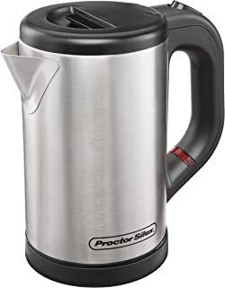 Proctor Silex Compact Electric Kettle for Tea and Hot Water, Cordless, Auto-Shutoff and Boil-Dry Protection, Stainless Steel (40940),