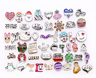 50 Pcs Mixed Random Floating Charms for Glass Living Memory Lockets Origami Owl Lockets DIY Wholesale Gold and Silve By Cinter.C Model 2