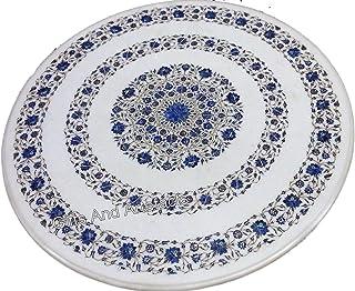 36 pulgadas de mármol blanco mesa de comedor piedras semi preciosas centro mesa superior para habitación de huéspedes