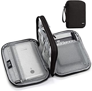 BOONA Travel Cable Organizer Case Electronic Accessories Storage Bag,Portable Gadget Carry Bag with Strap for Cable,External Battery-Best Padded Tech Kit Zippered Pouch (Black, Small Double Layer)