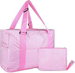 HDWISS Foldable Travel Duffle Bag Tote Carry on Luggage for Spirit Airlines - Pink