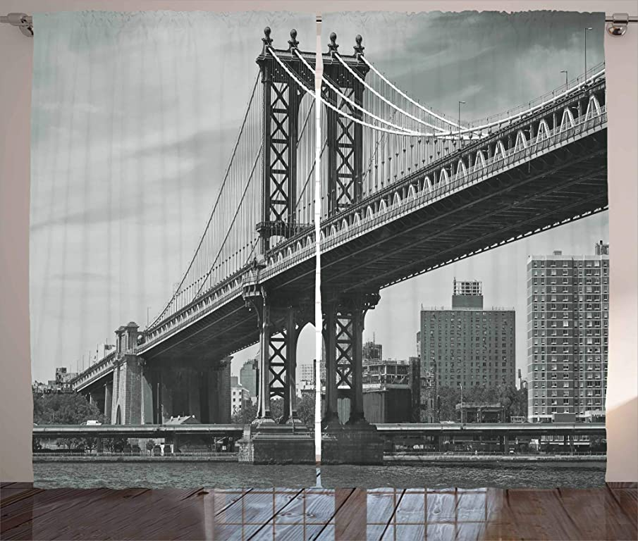 Ambesonne New York Curtains Decor, Bridge of NYC Vintage East Hudson River Image USA Travel Top Place City Photo Art Print, Living Room Bedroom Window Drapes 2 Panel Set, 108 W X 90 L Inches, Grey